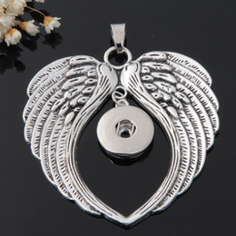 Wholesale Metal Wing Charms Diy - Angel wings handmade Metal 18mm snap button giger snap jewelry for bracelet and necklace diy making charms pendant