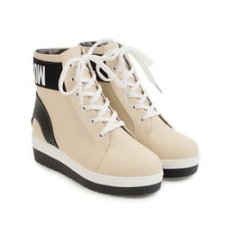 Wholesale Korean Lace Up Boots - Ankle boots round toes kitten heel 2017 Korean version new style Tied shoelaces Casual women shoes