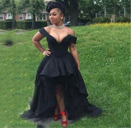 Wholesale Little Girls Dresses Size 16 - Sexy Black Girls Off Shoulder Prom Dresses 2017 Plus Size High Low Evening Gowns Custom Made Satin And Tulle Formal Party Dresses