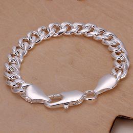 Wholesale Sideways Jewelry - brand new 10M sideways - shrimp buckle men's 925 silver charm bracelet 20.5x1.0cm DFMWB151,sterling silver plated jewelry bracelet