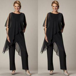 Wholesale Navy Blue Beach Pants - Cheap 2016 Two Pieces Pants Suits For Mother Bride Jewel Half Sleeve Plus-Size Black Chiffon Evening Gowns Beach Wedding Party EN3254