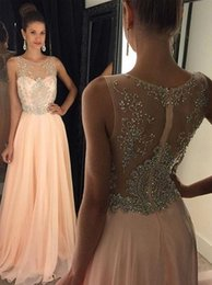 Wholesale Pearl Neck Top - 2016 Sexy Champagne Crew Neck Chiffon Long Prom Dresses Tulle Applique Beaded Top Floor Length Evening Party Dresses