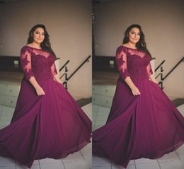 Wholesale Half Sleeve Long Prom Dresses - Plus Size Burgundy Prom Dresses 2017 Lace Applique Half Long Sleeve Evening Gowns Sheer Neck Chiffon A Line Formal Party Dresses Custom Made