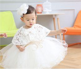 Wholesale set girl retail - retail 2pcs set Newborn High Quality 2016 baby Baptism Dress Christening Gown Girls' party Infant Princess wedding dress