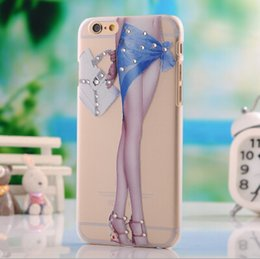 Wholesale Iphone Sex Cases - animal sex girl mobile phone case with crystal diamond back cover and dull polish embossed with a design of flowers design case for iphone