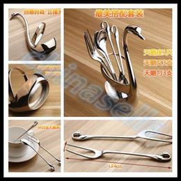 Wholesale Chopstick Spoon Fork - flatware swan seat stainless steel fruit fork coffee spoon wedding gift cutlery Set Home tableware