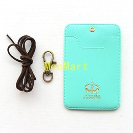 Wholesale Id Badge Case Metal - Wholesale-2 Card Slot Leather ID Card Holder Lanyard With Metal Bucknle Slot Funny Hot Stamp Pattern Korean Pink Lady Card Case ID Badge