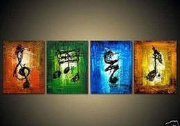 Wholesale Music Canvas Painting - Music art 4 piece Large hand-painted Art Oil Painting Wall Decor canvas NO frame