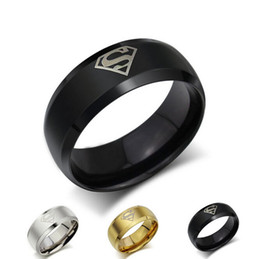 Wholesale Polish Fashion Sale - Hot Sale Hero Superman Ring for Men New Fashion Stainless Steel Jewelry 3 Color Available Top Grade High Polish Men Rings