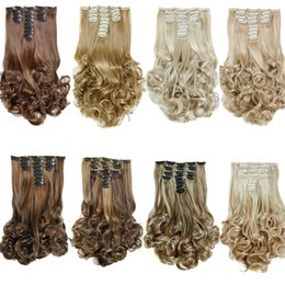 Wholesale Hair Extensions Mix Synthetic - 8pcs set Synthetic Clip in hair extensions Curly hair pieces 20inch 180g Mix two color Clip on hair extensions