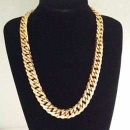 """Wholesale China Sports Necklace - 18-40"""" Gold 316L Stainless Steel 16mm Men's Sport Curb Cuban Necklace Link Chain"""