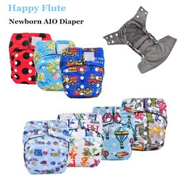 Wholesale Inner Gusset - Happy Flute Newborn AIO Diaper Cloth Diaper Pocket Diaper, Breathable Bamboo Charcoal Double Gussets Inner Waterproof PUL Outer