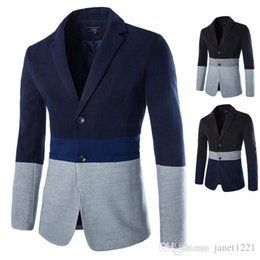 Wholesale Three Button Cotton Blazer - Men Blazers With Three Colors Patchwork Lapel Neck Casual Suit For Men Single Breated Straight Stylish Brief Men Overcoat Blazer J160717