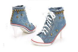 Wholesale Denim Pumps - Wendy Wu Women high heel boot jean denims lady sport high heel pumps lady shoes
