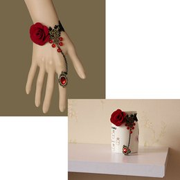 Wholesale Snake Wedding Rings - Lace Flowers Retro Bracelet Ring Sets Bridal Maid Wedding Party Show Hand Chain Fancy Dress Ladies Women Hand Decor Charm Bracelets