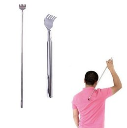 Wholesale stainless steel pen clips - Stainless Steel Back Scratcher Telescopic Portable Extendable Handy Pocket Pen Clip Back Scratcher10pc lot