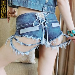 Wholesale Sexy Cowboys Clothing - Sexy Bar Nightclub Cowboy High Waisted Junk Holes DS Dance Show Serve Woman Song Clothing European Style Short Set Romper Fashion