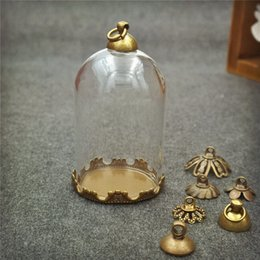 Wholesale Dome Necklace - 10pcs lot 38*25mm tube glass globe bottle with bronze crown base set glass dome cover glass vial pendant charms handmade glass vial jewelry