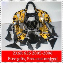 Wholesale Dragon Mold - Fairings Kit For KAWASAKI NINJA ZX6R 2005 2006 ZX6R 636 05 06 ZX-6R 2005-2006 ZX 6R 05 06 ABS Mold Fairing OEM Yellow Dragon In Black
