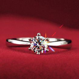 Wholesale Usa Diamond - Wholesale-Never fading 1.2carat 6claws large simulated diamond Rings women 18K white gold plared Engagement alliance USA size