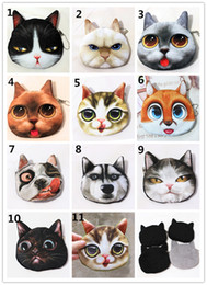 Wholesale Wholesale Girls Change Purse - 3D print Cat Dog coin purses Cute cartoon animal pouch Huskie Cat mini change purse coin case