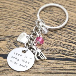 Wholesale Ends Zinc Alloy - 12pcs lot Baby Deer Fawn keyring Love is a song that never ends Mother Daughter Father keyring Crystal