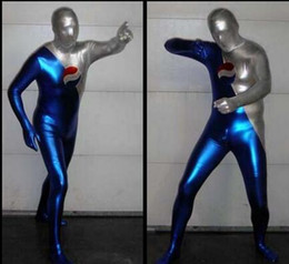 Wholesale Shiny Metallic Catsuit - Free Shipping Blue and Silver Shiny Metallic Pepsi Man Cosplay Costume Zentai Halloween Suit