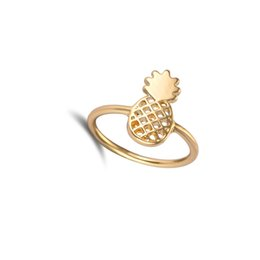 Wholesale Fruit Christmas Gifts - 10pcs lot 2016 New Fashion Cute Pineapple Rings Simple Funny Outline Fruit Rings Lovely Ananas Rings for Women Party Gift JZ142
