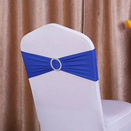 Wholesale Satin Chairs Sashes - 100pcs lot Spandex Lycra Wedding Chair Cover Sash Bands Wedding Party Birthday Chair Decoration 40 Colors Available DHL Free