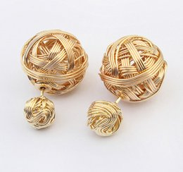Wholesale Weave Earrings - Fashion Metal Front Back Double Ball Earring Women 30PRS Gold Silver Hematite Stud Earring Girls Woven Ball Earrings Free Shipping