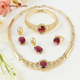 Wholesale Italian Jewelry Gold Plated - WesternRain 18K Gold Plated Italian Purple Jewelry Set For Christmas Gift Crystal Necklace Bracelet Ring Earrings A104