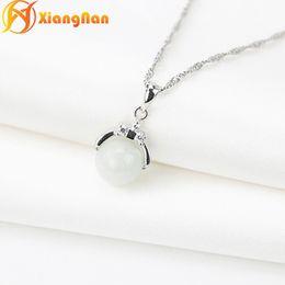 Wholesale White Jadeite Pendant - S925 pure silver jadeite pendants gemstone necklaces jadeite jade pendant natural white gemstone necklaces jewelry XN-JJ001