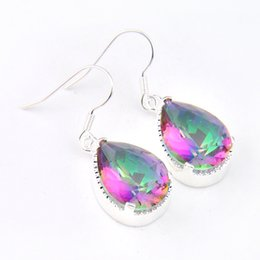 Wholesale Silver Earring Rainbow - Bulk 3 Pairs   Lot Thanksgiving Gift Drop Fire Rainbow Mystic Topaz Gemstone 925 Sterling Silver Drop Wedding Earrings