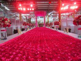 Wholesale Purple Favors For Wedding - New Romantic wedding carpet Centerpieces Favors 3D Rose Petal Carpet Aisle Runner For Wedding Party Decoration Supplies white red purple