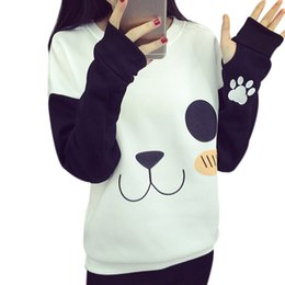 Wholesale Cute Hoody Women - Wholesale- Harajuku New Cute Cartoon Panda White Pullover Hoodies Women Autumn WInter Outwear Bottom Loose All-match Long Sleeve Hoody 2017