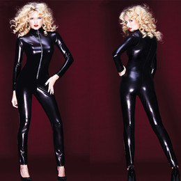 Wholesale Leotard Men - Wholesale-Newest Adult Women Sexy Patent Leather Leotard Tights Wet Look Front Zipper Jumpsuit PVC Vinyl Latex Bodysuit DJ Clubwear Dance
