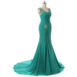 Wholesale Sexy Turquoise Evening Dress - Best Selling Mermaid V-neck Sweep Train Turquoise Chiffon Lace Up Prom Dresses Beaded Pleats Discount Prom Gowns Formal Evening Dresses