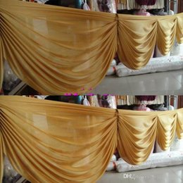 Wholesale table swags for weddings - 6 M long Gold ice silk curtain swags for wedding backdrops wedding party event decoration supplies