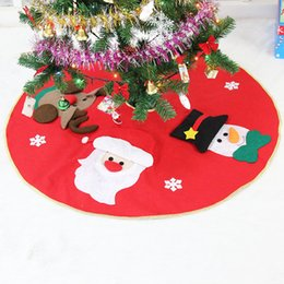 Wholesale Fabric Christmas Tree Ornament - Wholesale- 41.7'' Extra Large Christmas Tree Skirt 2016 Non-woven Fabrics Christmas Tree Skirt Aprons New Year Christmas Tree Ornaments