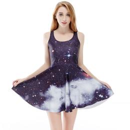 Wholesale Drop Hem - Hot Sale Womens New Sleeveless Galaxy Print Vest Dress For Women Fashion Digital Printing Summer Large Hem Short Dresses S-4XL Drop Shipping