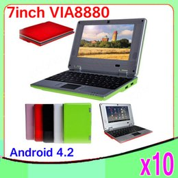 Wholesale New Cheap Notebook Laptops - 10pcs New Arrival Cheap 7inch Mini Laptop Notebook Computer Webacm Via 8880 Android Netbook Laptops ZY-BJ-1