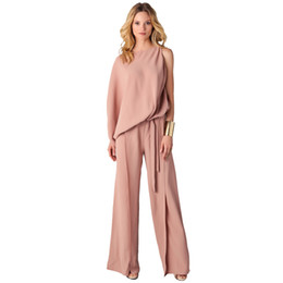 Wholesale Ladies Cotton Long Jumpsuits - MAYFULL new high quality women elegant solid loose sashes rompers jumpsuit lady spring long pink office work jumpsuit brand