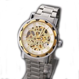 Wholesale Cheap Mechanical Watches For Men - Free Shipping Cheap Winner Men watches Stainless Steel Band Skeleton Dial Mechanical Watch For Men Gold WristWatches