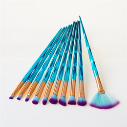 Wholesale professional ems - 7pcs set 10pcs set makeup brushes set unicorn diamond rainbow face & eye professional make up brush kit tools T10058 EMS DHL