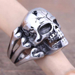 Wholesale Mens Head Bands - High Quality Stainless Steel Silver Mens Skull Head Finger Ring With Bones Fashion Gothic Punk Biker Male Jewelry New 2016(A475)