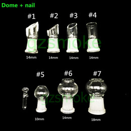 Wholesale Glass Oil Dome Wholesale - 14mm 18mm 10mm Glass dome and nail set for bongs domewax for bong dab oil rig Smoking Accessories heady rig bowl accessory water pipes