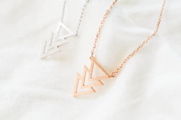 Wholesale Three Linked Hearts Necklace - Hot sale hippie chic superposition of three triangles pendant drop necklace Bohemian fashion women Neclaces 2016 ms thin necklace