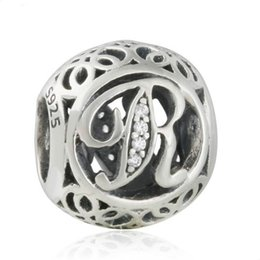 Wholesale Sterling Silver Letter R Charm - Authentic 925 Sterling-Silver-Jewelry Vintage Alphabet R Openwork Charms Beads AAA CZ Letters Bead DIY Brand Logo Charm Bracelets HB610
