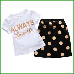 Wholesale Free Hot Mom - mom girls suits new summer fashion ploka dot baby girls suits short t-shirt yellow dot dress hot selling 2016 free shipping