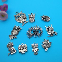 Wholesale Wholesale Tibetan Owl Bead - Mixed Tibetan Silver owl Charms Pendants Jewelry Making Bracelet Necklace Fashion Popular Jewelry Findings & Components Accessories DIY V160